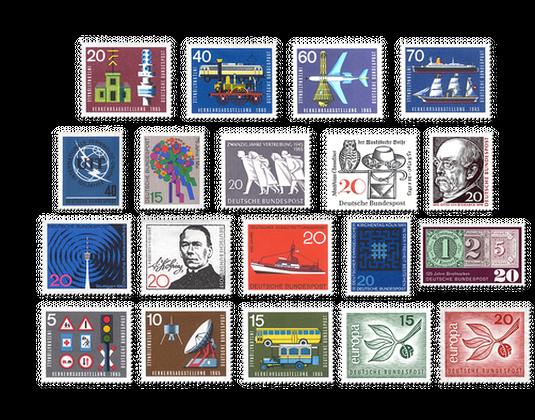 Briefmarken Jahrgang Deutschland 1965 Postfrisch Oder Gestempelt