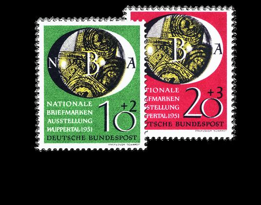 Briefmarken Zur Nationalen Briefmarkenaustellung In Wuppertal 1951