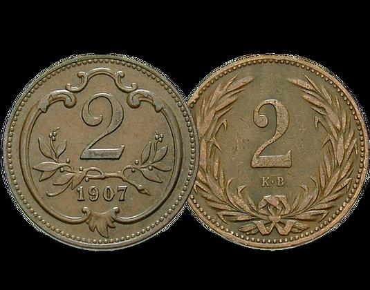 2er Set österreich Ungarn 2 Heller Und 2 Filler Mdm Deutsche Münze