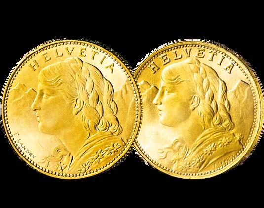 10 Und 20 Franken Goldmünzen Vreneli Mdm Deutsche Münze