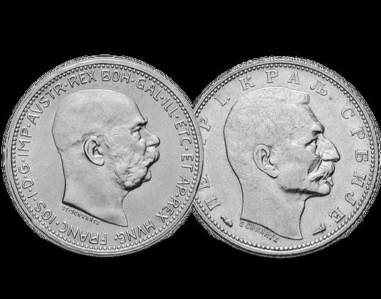 Silbermünzen Set österreich Serbien Kaiser Franz Joseph I Mdm