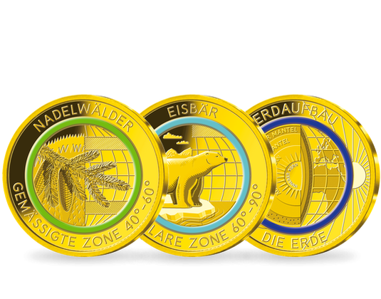 Die Goldprägungen Klimazonen Der Erde Mdm Deutsche Münze