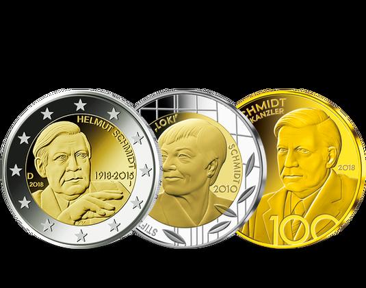 Deutsche Sonderprägungen 100 Geburtstag Helmut Schmidt