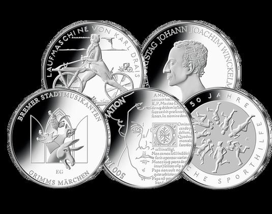 Die Deutschen 20 Euro Münzen Im Jahressatz 2017 Mdm Deutsche Münze