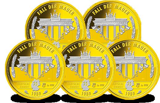 1 Dm Münzen Satz 1990 Vergoldet Mdm Deutsche Münze