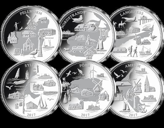 Silbermünzen Komplettsatz Nordfriesische Inseln Mdm Deutsche Münze