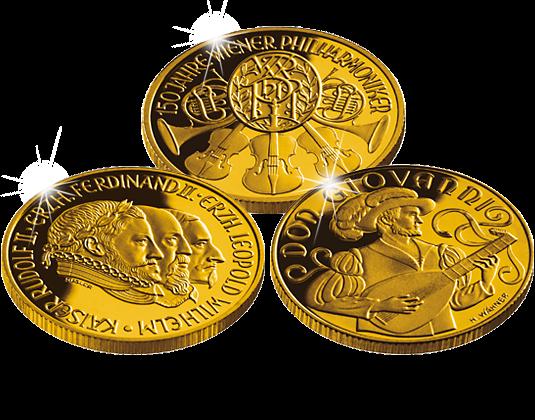 österreichs Erste 500 Schilling Goldmünzen In Einem Set Vereint
