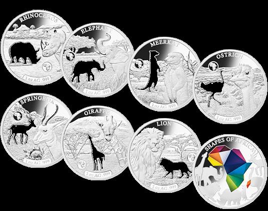 Shapes Of Africa Komplett Satz Mit Offiziellen Gedenkmünzen In