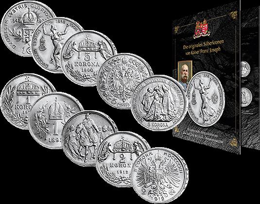 Komplett Satz Der 10 Silberkronen Münzen Kaiser Franz Joseph I