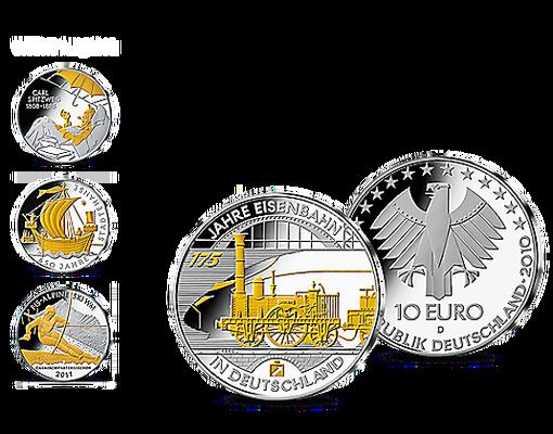 10 Euro Münze 175 Jahre Eisenbahn In Deutschland Aus Edlem Silber