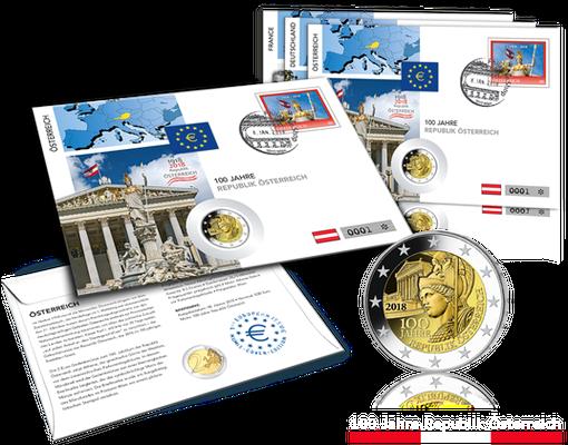 österreichs 2 Euro Gedenkmünzenbrief 100 Jahre Republik Imm