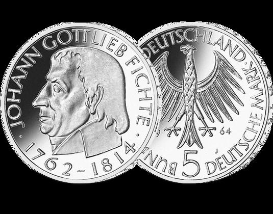 5 Dm Münze 1964 Johann Gottlieb Fichte Mdm Deutsche Münze