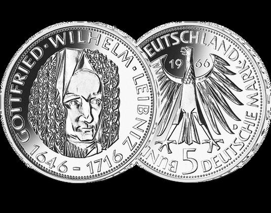 5 Dm Münze 1966 Gottfried Wilhelm Leibniz Mdm Deutsche Münze