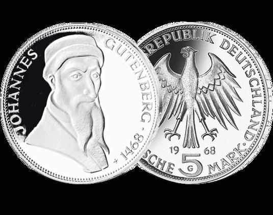 5 Dm Münze 1968 Johannes Gutenberg Mdm Deutsche Münze