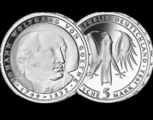 5 Dm Münze 1982 Johann Wolfgang Von Goethe Mdm Deutsche Münze