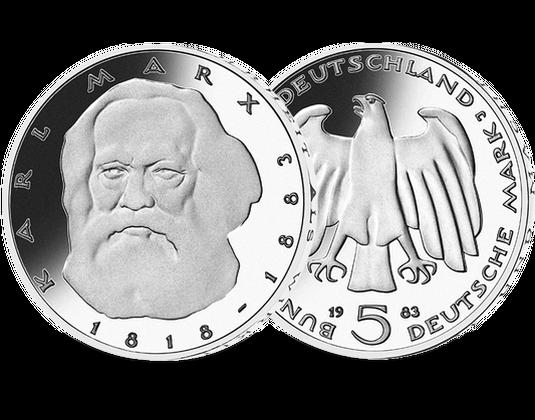 5 Dm Münze 1983 Karl Marx Mdm Deutsche Münze
