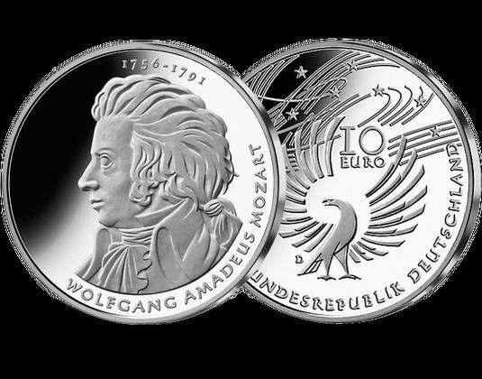 10 Euro Münze Wolfgang Amadeus Mozart Mdm Deutsche Münze