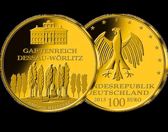 100 Euro Goldmünze 2013 Dessau Wörlitz Mdm Deutsche Münze