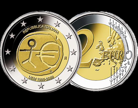 2 Euro Italien 2009 10 Jahre Währungsunion Mdm Deutsche Münze