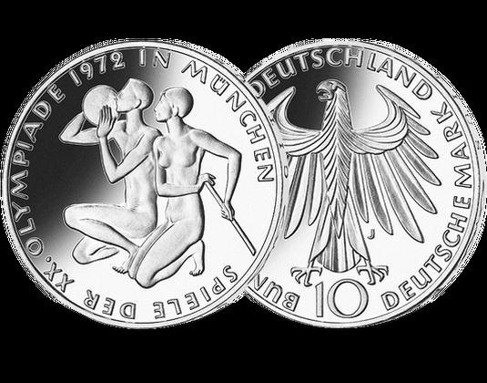 10 Dm Münze 1971 Knieendes Sportlerpaar Mdm Deutsche Münze