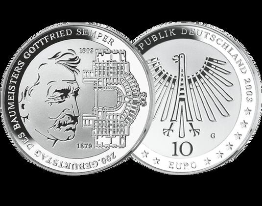 10 Euro Münze Gottfried Semper Mdm Deutsche Münze