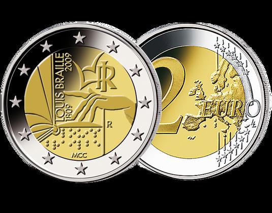 2 Euro Italien 2009 Louis Braille Mdm Deutsche Münze