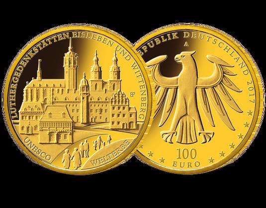 100 Euro Goldmünze Unesco Welterbe Luthergedenkstätten Mdm