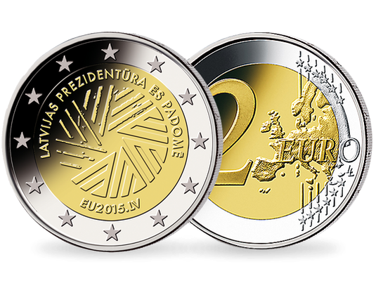 2 Euro Lettland 2015 Eu Ratspräsidentschaft Mdm Deutsche Münze