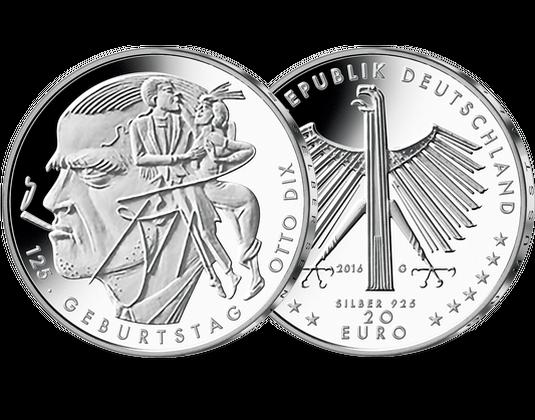 Deutsche 20 Euro Silber Gedenkmünze 125 Geburtstag Otto Dix Mdm