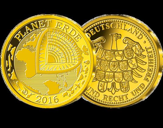 Die Gold Gedenkprägung Blauer Planet Erde Mdm Deutsche Münze