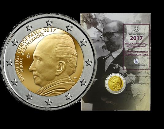 Griechenland 2 Euro Coincard Nikos Kazantzakis 2017 Mdm Deutsche