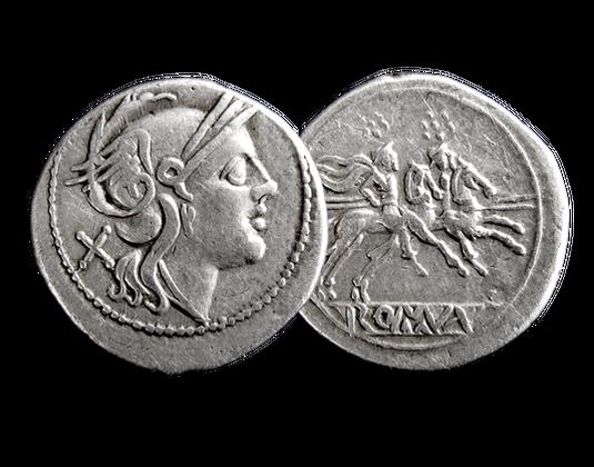 Römische Republik Denar Um 200 V Chr Roma Dioskuren Mdm