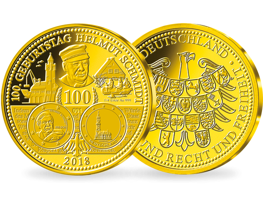14 Unze Feingold Zum 100 Von Geburtstag Helmut Schmidt Mdm