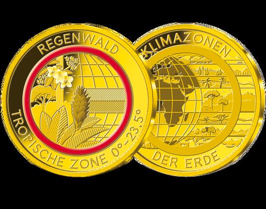 Die Gold Gedenkprägung Regenwald Tropische Zone Mit Rotem