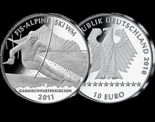 10 Euro Münze Alpine Ski Wm 2011 Mdm Deutsche Münze