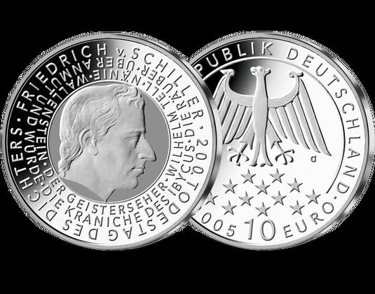 10 Euro Münze Friedrich Von Schiller Mdm Deutsche Münze