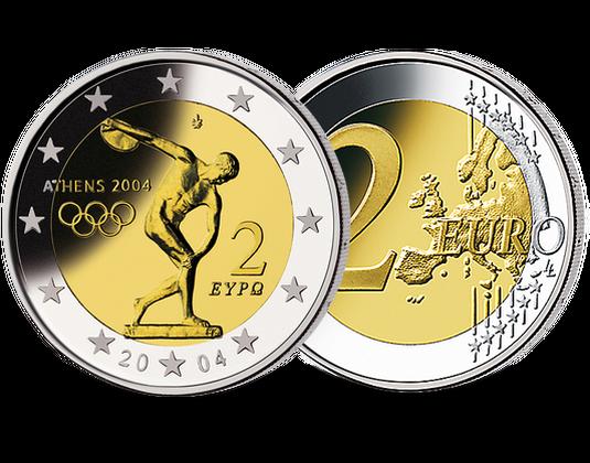 2 Euro Griechenland 2004 Olympische Sommerspiele Athen Mdm