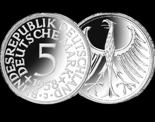 Die Seltenste Silbermünze Deutschlands 5 Dm 1958 Prz J Mdm