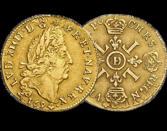 Monnaie En Or Louis D Or Aux 4 L Louis Xiv Societe Francaise Des