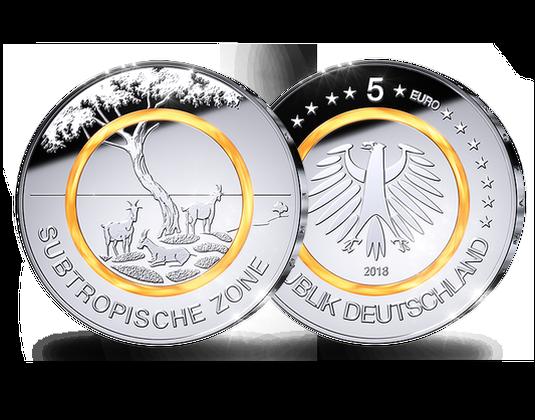 5 Euro Münze 2018 Subtropische Zone Mdm Deutsche Münze