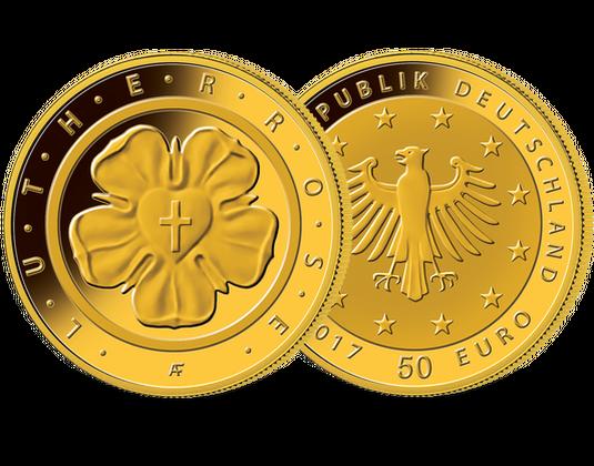50 Euro Goldmünze 2017 Lutherrose Mdm Deutsche Münze