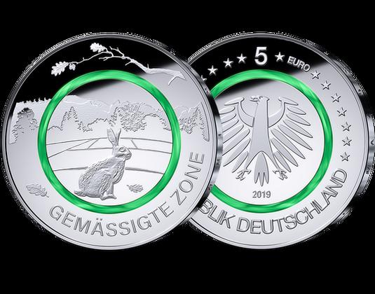 5 Euro Münze 2019 Gemäßigte Zone Mdm Deutsche Münze