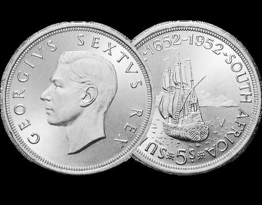 Südafrika 5 Shillings 1952 Georg Vi Segelschiff Dromedaris Mdm