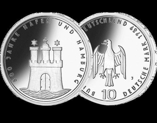 10 Dm Münze 1989 800 Jahre Hamburger Hafen Mdm Deutsche Münze