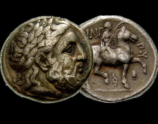Antike Silbermünze König Philipp Ii Makedonien Mdm Deutsche Münze