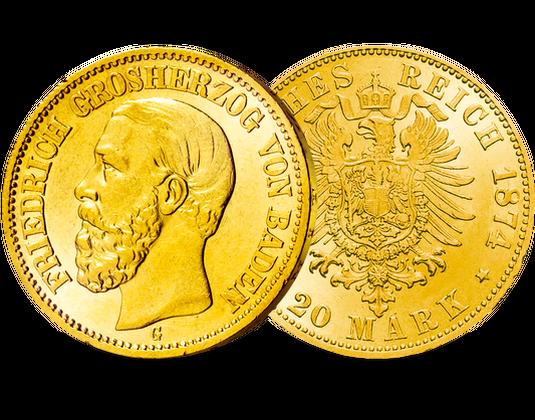 Goldmünze Baden 20 Mark 1874 Friedrich I Mdm Deutsche Münze