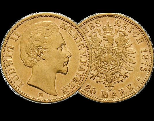 Goldmünze Bayern 20 Mark 1874 1878 Ludwig Ii Mdm Deutsche Münze
