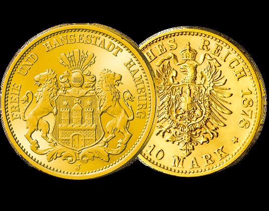 Goldmünze 1875 1888 Erste Hamburger 10 Mark Mdm Deutsche Münze