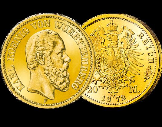 Deutsches Reichwürttemberg 20 Mark 1872 König Karl Mdm Deutsche Münze