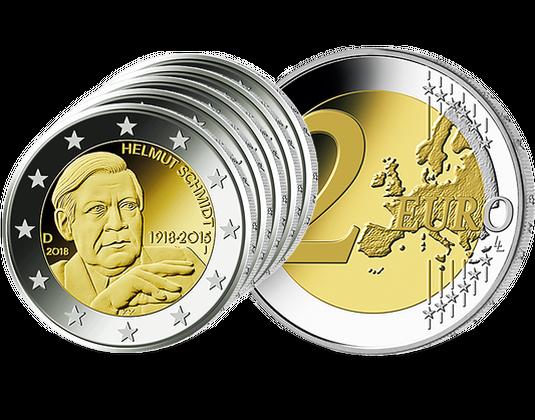 5 X 2 Euro Münzen Brd 2018 Helmut Schmidt Münzen Günstigerde